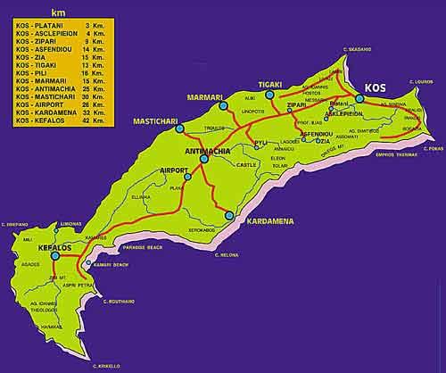 Landkarte der griechischen Insel Kos Island zum Downloaden
